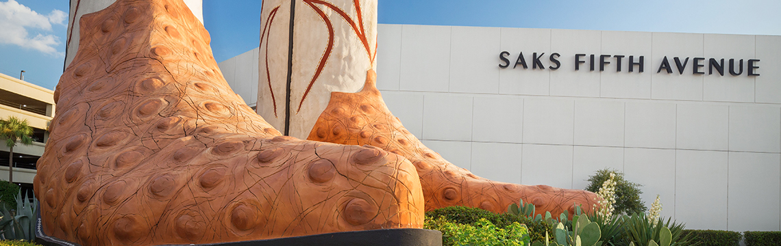 At North Star Mall, a large statue of a pair of cowboy boots is on display by Saks Fifth Avenue.